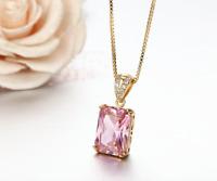 Ladies Girls Pendant Necklace Cubic Zirconia Gold Colour Pink Princess Cut Stone