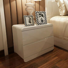 High Gloss White Bedside Table Chest of Drawers Night Stand