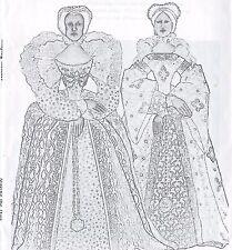 """14""""QUEEN ELIZABETH/YOUNG BESS CLOTH/SOFT SCULPTURE ART DOLL BUSTLE DRESS PATTERN"""