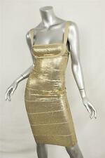 HERVE LEGER Womens Antique Gold Sequin Bodycon Bandage Short Dress XXS NEW