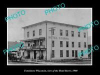 OLD LARGE HISTORIC PHOTO OF FENNIMORE WISCONSIN, VIEW OF THE HOTEL STORRS c1900