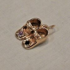 Vintage 14K Yellow Gold Baby Shoes Charm with Blue & Purple Stones
