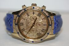 Michael Kors MK2311 Glitz Layton Blue Snakeskin Gold Tone Watch With Crystals