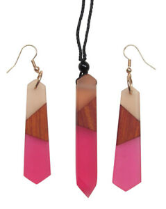 Set Necklace And Earrings Pink Dominant Resin And Wood Natural