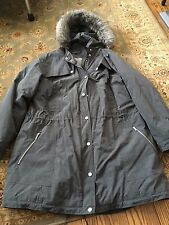 Women's JONES NEW YORK Gray Fur Hooded Winter Jacket - Size 1X