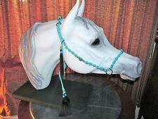 HANDMADE MACRAME` ARABIAN HORSE SHOW HALTER, TURQUOISE BLUE & BLACK, SILVER TRIM