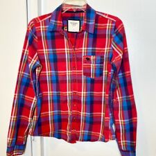 Abercrombie & Fitch Red Plaid Blue Shirt L