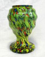 Art Deco Czech Welz Splatter Glass Vase c 1920s - 1930s - Stunner (B)