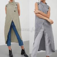 Womens Sleeveless Maxi Tops Vest Evening Party Club Asymmetric Sexy Blouse Shirt