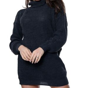 Women Polo Neck Long Knitted Baggy Jumper