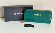 NEW W/ BOX! BEBE EMERALD GREEN TRINA CROCO ZIP AROUND CLUTCH WALLET PURSE $49