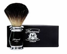 Perfect Shaving Brush for HIM Made With Pure Black Badger Hair in Black & Metal.