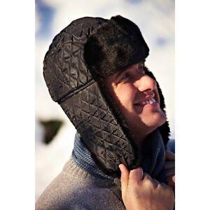Mens Warm Winter Quilted Trapper Hat Faux Fur Trim Black Ski Hat 66cm Dia