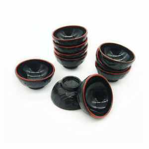 Dollhouse 10Pcs Tableware Red Black Japanese Bowl 1:12 Miniature Accessories