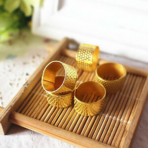 10x Gold  Adjustable Size Ring Stitch Finger Thimble Sewing DIY Craft Tools Fx