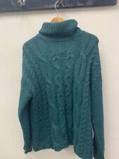 Women's Green Primark Sweater Mock Neckline Long Sleeved Size UK 12/14 (Medium)