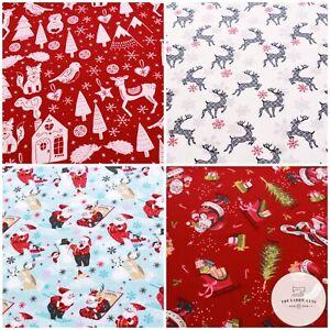"Soft Brush 100% Flannel Cotton, Christmas Decor, Santa, Reindeer, Sleighs 60"""
