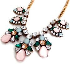 GREEN PINK Crystal Rhinestone Gold Floral Bug Bee Butterfly Pendant Bib Necklace