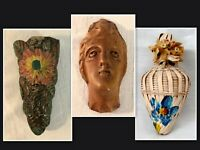 """SALE! UNIQUE VICTORIANA Items: Flower Holder, Carved Female Head, Woven """"Bottle"""""""