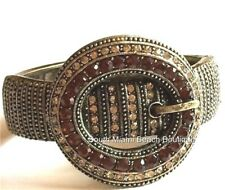 """Gold Country Western Belt Buckle Bracelet Plated Crystals Cowgirl 8"""" Chunky BIG"""