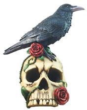 """VALKYRIE'S OMEN    Raven on Skull    Edgar Poe  Statue H13"""""""