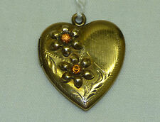 Antique Heart Locket Pendant Gold GF on Sterling Silver w/ Flowers & Engraved