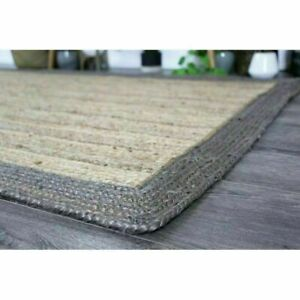 Rug 100% Natural Jute Rectangle Braided Floor Mat Handmade Reversible Runner Rug