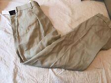 NWT Brooks Brothers Linen Slacks Pants 34x32 Pleated Cuffed Tan Summer