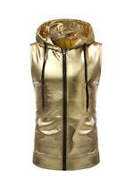 Men Night Club Jacket Sleeveless Vest Coat Hoodie Tops Metallic Shiny Club-wear