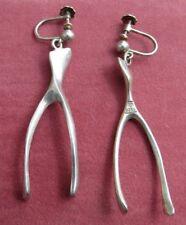Vintage Modernist Scandinavian Sterling Silver 925S  WBR Earrings Hallmark.