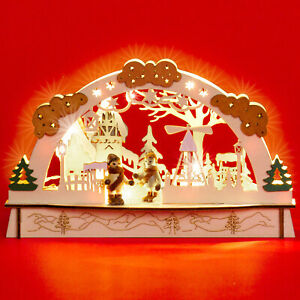 SIKORA LB58 Small Wooden Christmas Arch Illuminated Decoration Battery-Operated