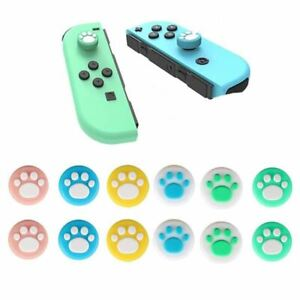 2x New Design Cat Paw Silicone Thumb Stick Grip Cover Caps for Nintendo Switch