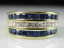 18K Sapphire Diamond Ring Wide Band Yellow Gold Fine Spark Creations Size 5.25