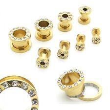 Tunnelset Set Plug Tunnel Ohr Piercing Flesh Gold Strass 1,6 2 3 4 5 6 8 10 mm