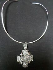 Mexican Sterling Silver .925 Cross Pendant Choker Necklace Crusader Yalalag