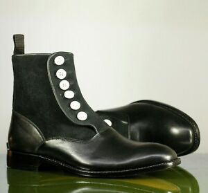 Handmade Men's Black Leather Suede Button Boots, Men Ankle Boots, Designer Boots