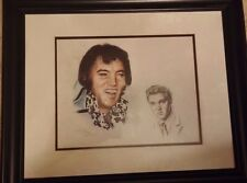 Elvis Presley Charcoal Portrait print in wooden frame signed Natasha 1997 11x14""