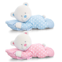 KEEL TOYS Newborn Baby First Soft Plush Cuddly Toy Bear On Pillow 30 cm Age 0+