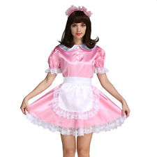 Sissy Girl Maid Satin Locking Pink Satin Dress Costume Crossdress