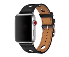 BLACK Genuine Leather Single Tour Bracelet Strap Band For Apple Watch 38/42mm