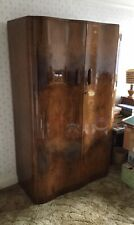 Vintage Gentleman's Wardrobe with curved doors, dark wood, maybe walnut?