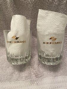 VTG AIR FRANCE PAIR 1st CLASS CUT GLASS GOLD IMPRINT ROCKS GLASSES