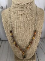 """Brown and Yellow Plastic Beaded Necklace 19"""""""