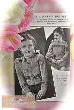 1940s Knitting Pattern Child Fair Isle Jumper & Cardigan. 2 Sizes Fit 3-7 Years
