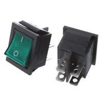 2 x gruen Licht 4 Pin DPST On-Off Snap in Boot Wippschalter 16A/ 250V 20A/ A2K8
