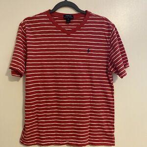 🎼Polo Ralph Lauren Boys Short Sleeve Striped T Shirt Size XL (18-20) V Neck