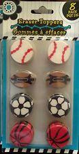 8 Pack Sports Baseball Basketball Football Soccer School Toy Eraser Toppers Nib