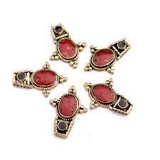Coral Black Howlite Brass 5 Necklace Spacers Tibetan Nepalese Handmade NK388