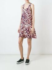 MSGM Scoop Neck Leopard Print Silk Dress White Coral Pink SZ 46 NWT ITALY $715