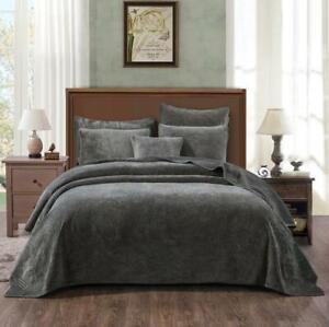 Tache Crushed Velvet Taupe Brown Grey Soft Plush Waves Bedspread Coverlet Set
